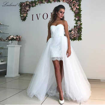 Simple Sheath Lace 2 in 1 Beach Wedding Dresses 2020 Strapless Sleeveless Detachable Train Tulle Knee Length Bridal Dress - DISCOUNT ITEM  35 OFF Weddings & Events