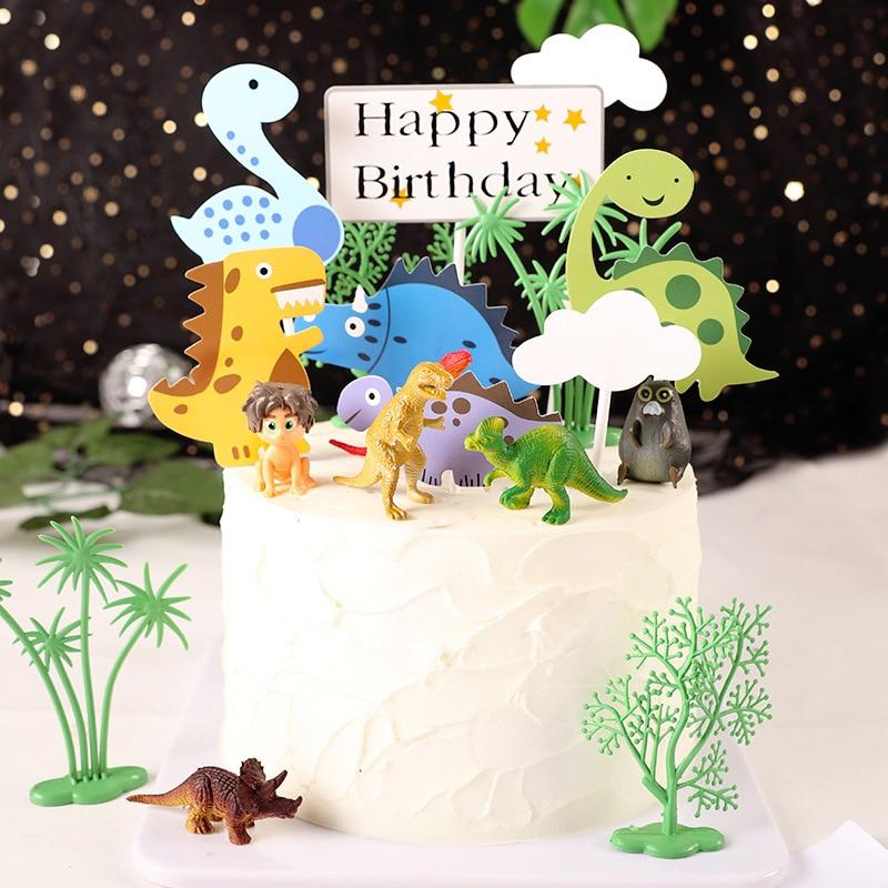 11pcs Happy Birthday Cake Topper Cartoon Cloud Dinosaur Cake Decorating Topper Cupcake Toppers Food Picks Kids Party Decoration