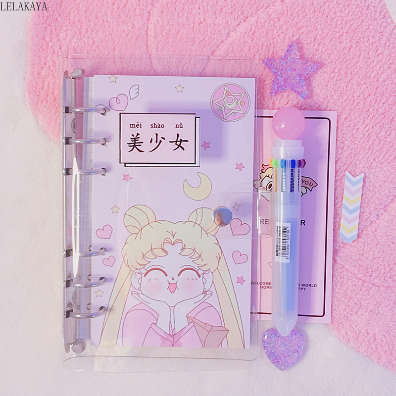 Anime Sailor Moon Sakura Action Figure Printed Paper A6 Spiral Notebook Separator Pages Students Lovely Dairybook Cosplay Gifts