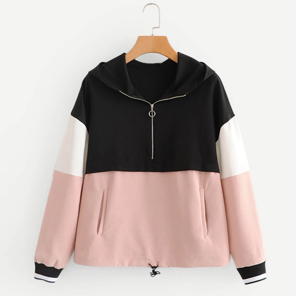 Women Hoodies Zipper Splice Ladies Casual Hooded Pullover Clothes Loose Long Sleeve Sweatshirt Tops 2019 Sudadera Mujer