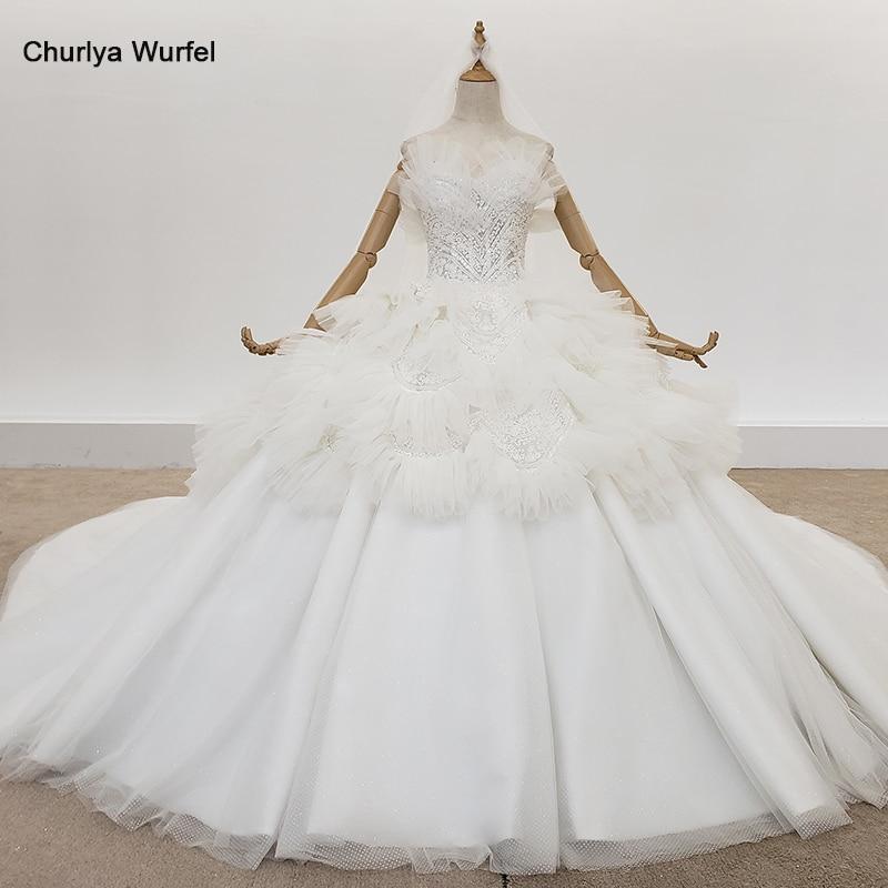 HTL1319 Ivory Off Shoulder Wedding Dress With Vile Boho Wedding Dress Tiered Ball Gown Tulle Wedding Dress Vestido De Novia