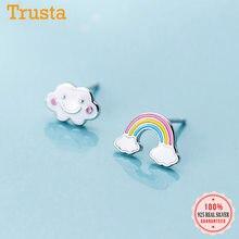 Trusta-pendientes de plata de ley 925 con diseño de nubes y Arco Iris, joyería asimétrica con cierre de tuerca, para mujeres y niñas, DS2328