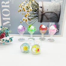 6pcs/lot Ice Cream Resin Bottle Goblet Charms Drinks Food Pendants For Necklace Bracelet DIY Jewelry Making 23*47mm FX179