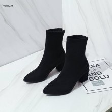 Martin boots female 2019 new pointed autumn plus velvet high heels fashion zipper suede elastic tube ankle boots for women z166 mljuese 2019 women mid calf boots kid suede gray color high heels letter autumn spring women martin boots casual boots size 40