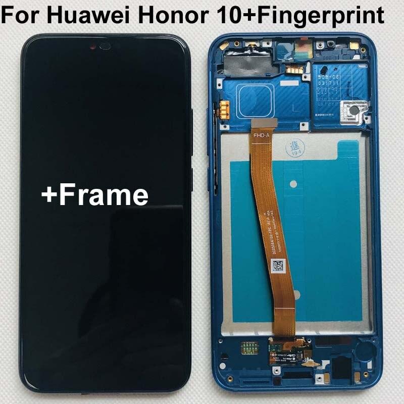 Полностью оригинальный новый для Huawei Honor 10 COL-L29 ЖК-дисплей + сенсорный экран дигитайзер в сборе Замена + отпечаток пальца + рамка 5,84