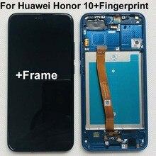 Tam orijinal yeni Huawei onur 10 için COL L29 LCD ekran + dokunmatik ekran Digitizer meclisi değiştirme + parmak izi + çerçeve 5.84