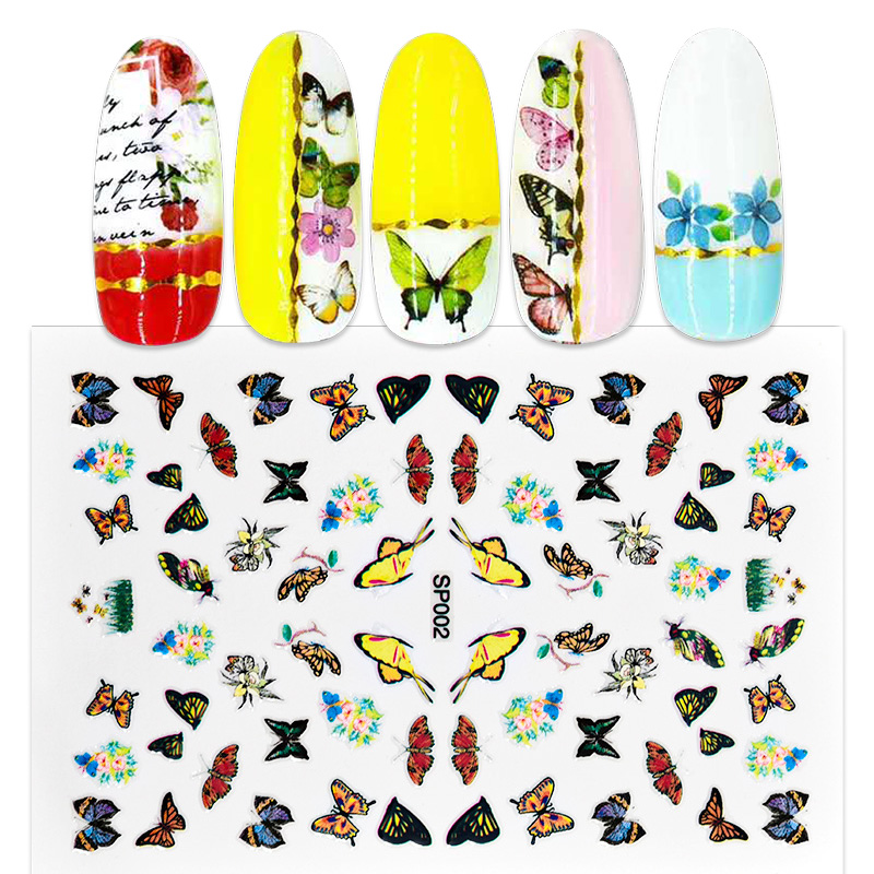 16 Sheets/Lot Butterfly Pattern Nails Flower Nail Decal Sticker 3D Self Adhesive Nail Art Stickers Manicure Acrylic Tool CNL54