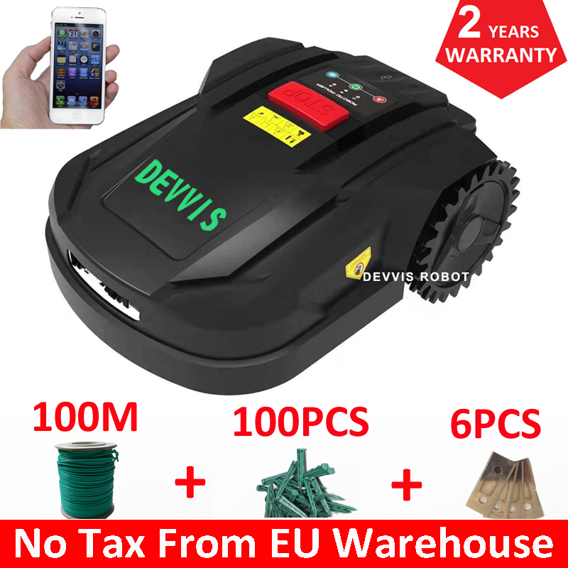DEVVIS Cheapest Intelligent Lawn Mower Robot H750T For Mini Lawn,Europe Warehouse,No Tax,Auto Recharge,Wifi Smartphone APP