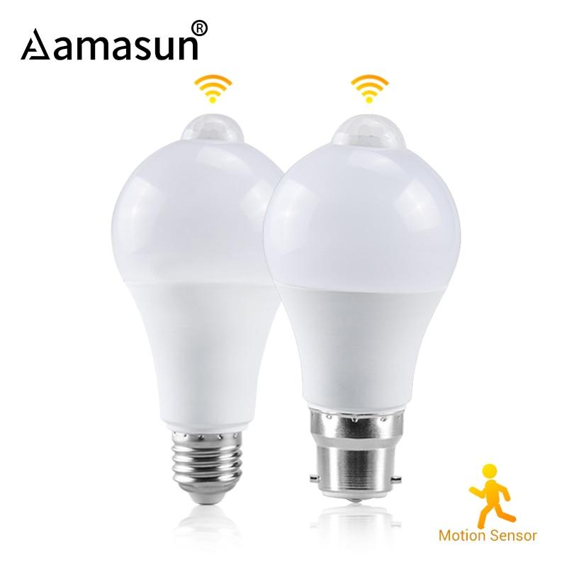 85-265V Lampada LED 12W 15W 18W LED PIR Motion Sensor Bulb E27 B22 Infrared Radiation Motion Detector Sensor Light Lamp for Home()