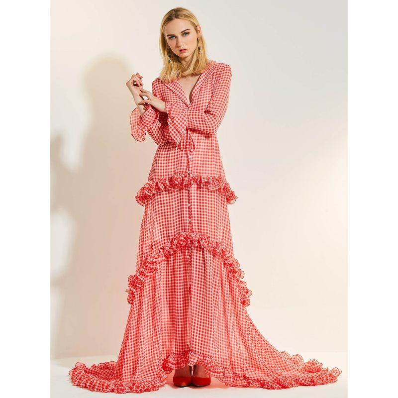 Femmes Maxi robes décontracté doux élégant OL fête d'été rouge lâche revers taille haute Plaid asymétrique Falbala bouton imprimer robe