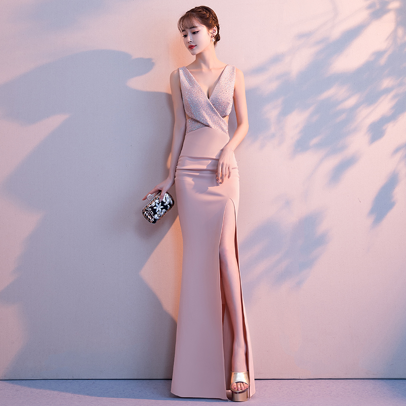 2019-Noble-Banquet-Gowns-Strap-V-Neck-Slim-Evening-Dress-Elegant-Women-High-Split-Cheongsam-Marrigahe