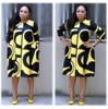 Plus-Size Dress Women Midi Winter O-Neck Polka Dot Print Long Section Ladies Office Gown Big Dresses 2