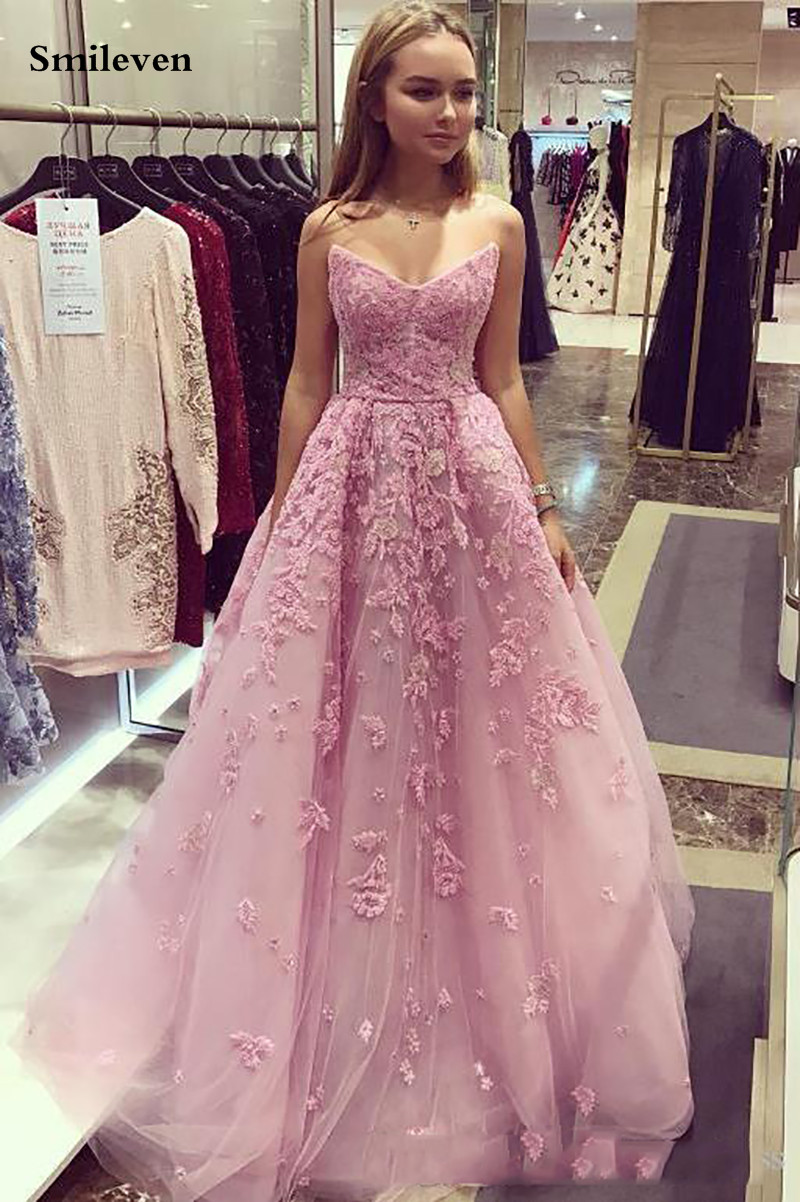 Smileven Pink Strapless Prom Dresses With 3D Lace Appliques Tulle Long Backless Special Occasion Dresses Long Formal Party Gowns