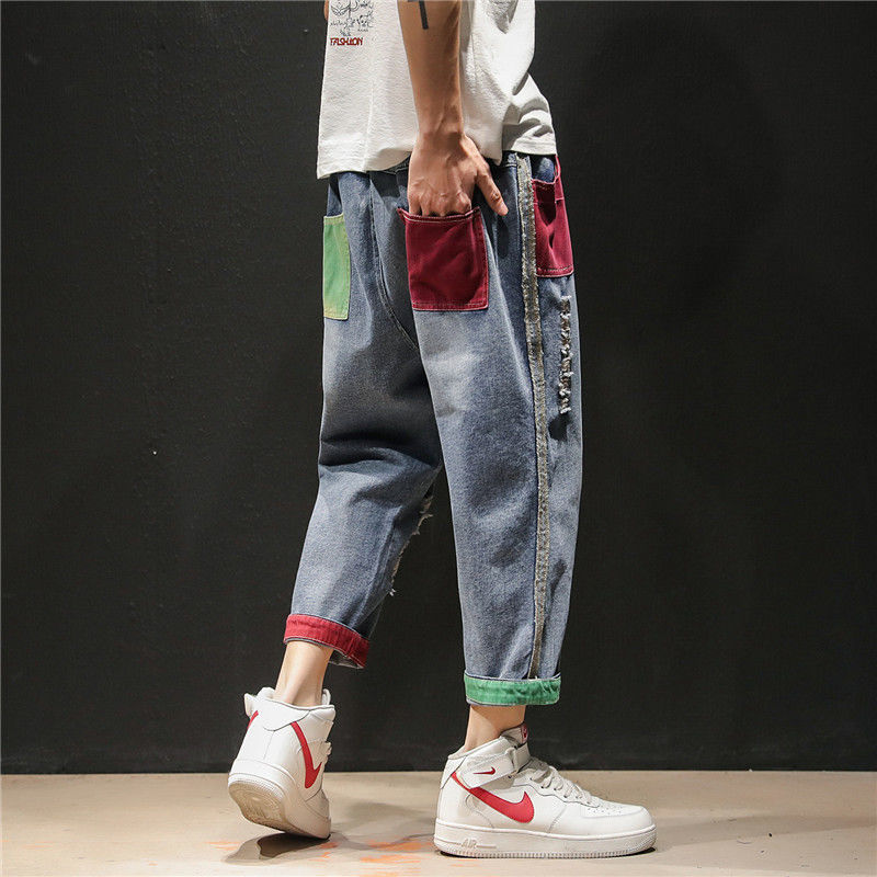 2019 ins Men Pants Casual Mens hip hop rap Male Trousers street   jeans   Korean Straight Full close-fitting breathing loose Pant