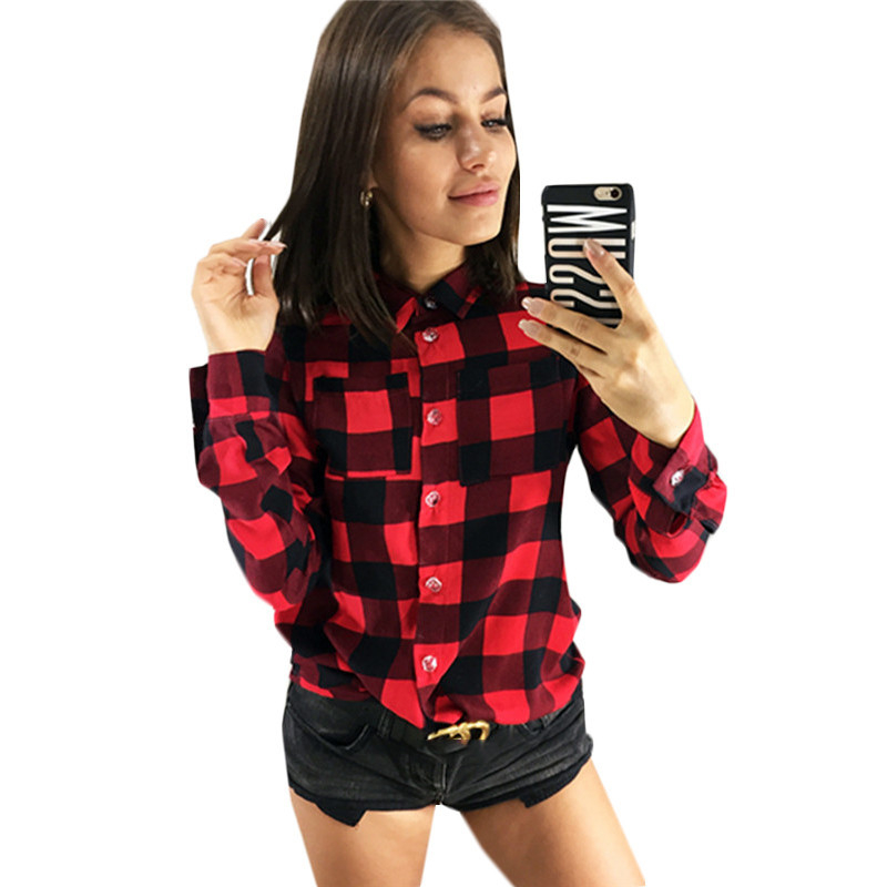 New Plaid Shirt 2019 Women Casual Long Sleeve Shirt Woman Cotton Tops Tee Fashion Ladies Blouse Plus Size Shirts Top Mujer