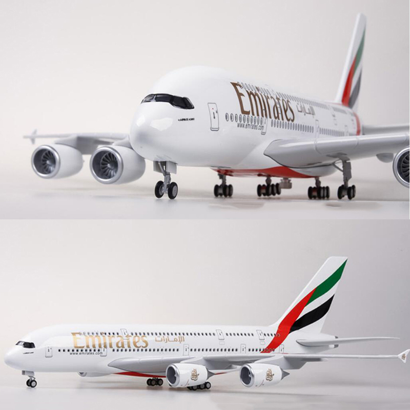 45.5CM 1/160 Scale Airplane Model Airbus A380 EMIRATES Airline Aircraft Model W Light & Wheels Die-cast Plastic Resin Plane Toy image