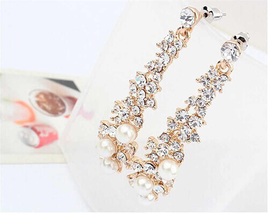Femmes strass longues boucles d'oreilles pendantes femmes Dangle boucles d'oreilles pour mariage/fête Diamant mariage Brincos bijoux fins