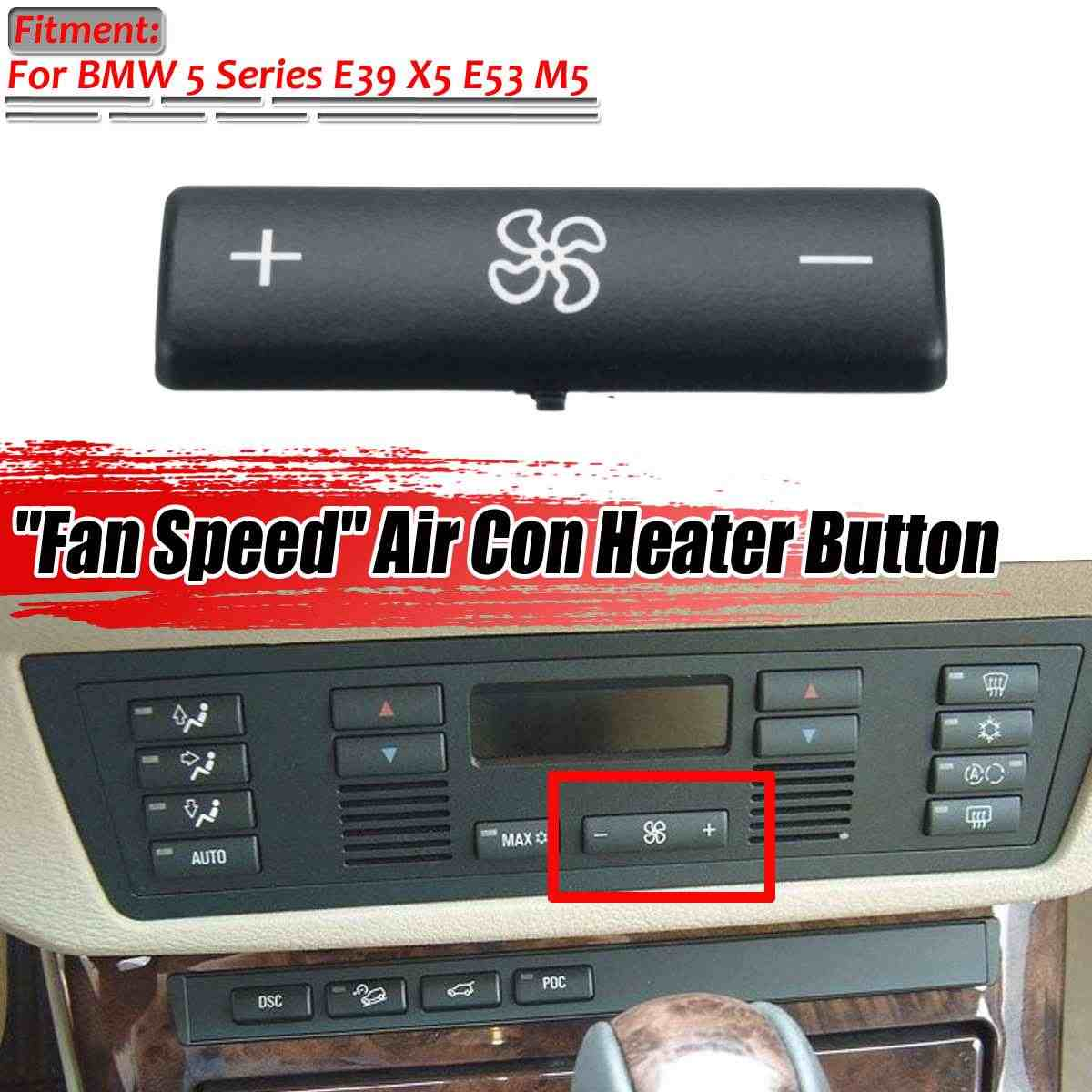 ESC EDP88-5FBA 2 Pieces Heater Climate Control Air Conditioning Switch Button Cover #5 For BMW 5 Series