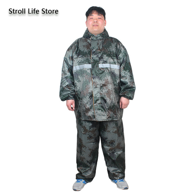 Large Plus Size Raincoat Men Hiking Fertilizer To Increase Fat Man Rain Coat Suit Adult Men and Women Thickened Double Layer 3