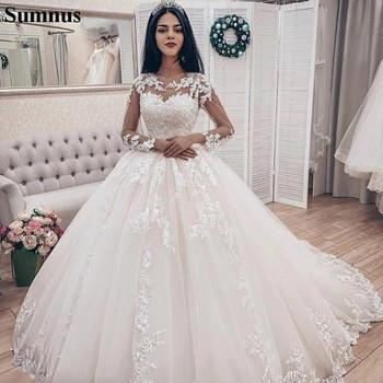 Sumnus 2021 suknia balowa suknie ślubne z długim rękawem koronkowe aplikacje puffy Boho ślubne sukienka Plus rozmiar suknie ślubne tanie i dobre opinie SCOOP Pełna Tulle Sąd pociąg CN (pochodzenie) Długość podłogi Lace up REGULAR Haft Koronki Illusion TT01115 Księżniczka