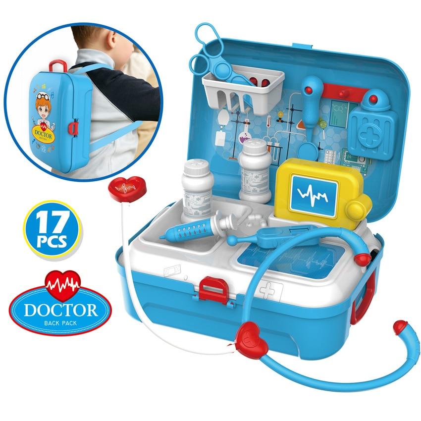 mochila kit médico role play crianças juguetes