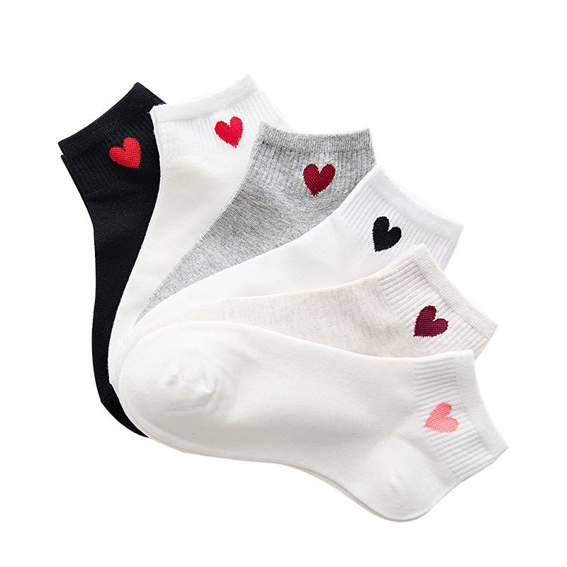 5Pairs/set woman boat socks COTTON SOLID color black/white/gray heart fashion for summer/spring