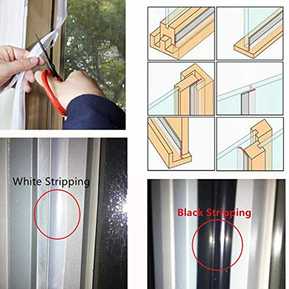 Zorfeter 8M//26Ft Silicone Seal Strip Weather Stripping Door Bottom Adhesive Strip for Doors and Windows Width 25mm, Transparent