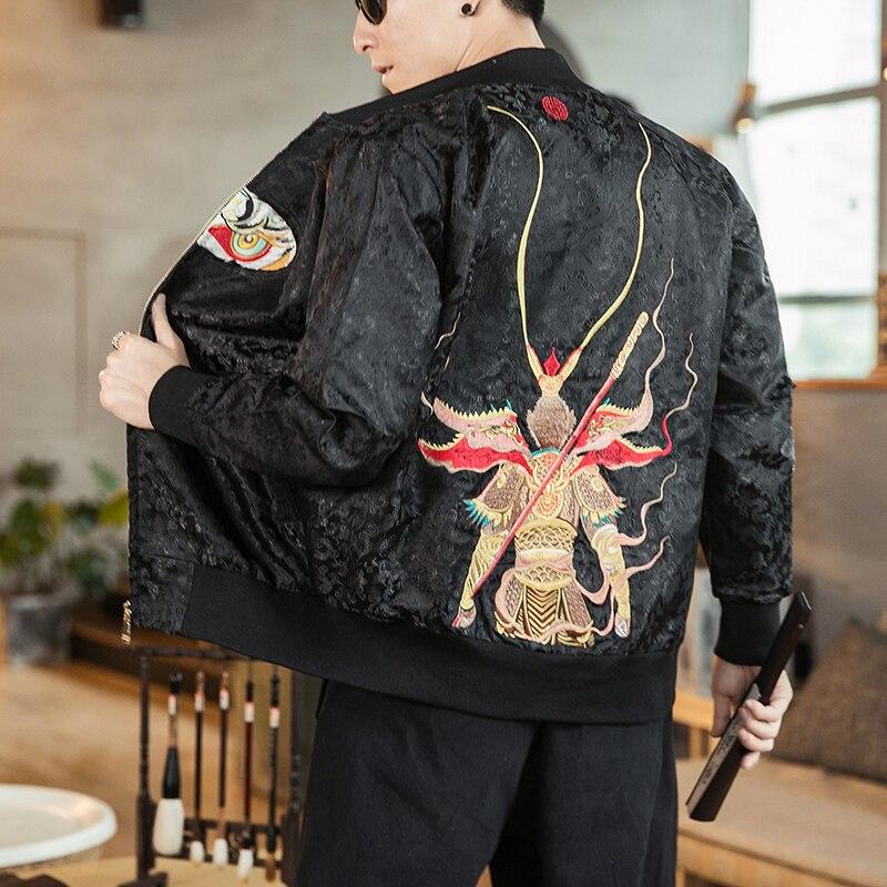Hommes Bomber veste manteau singe broderie Style chinois Slim manteaux décontractés noir rouge Streetwear vestes homme 2019 nouveau automne