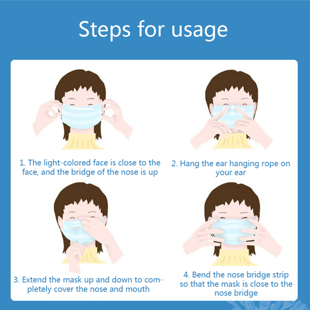 50 pcs Face Mouth Mask Meltblown cloth Disposable mouth mask 3 layers face mask 5