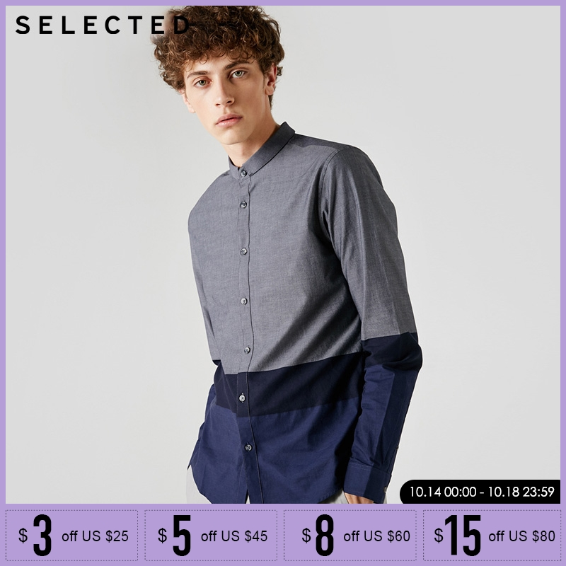 SELECTED Cotton Stitching Color Long Sleeve Shirt | 418305528