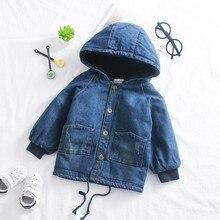 Рост 80-115 см; Новинка года; Зимний толстый теплый флис; джинсовая куртка с капюшоном для мальчиков; детское зимнее пальто