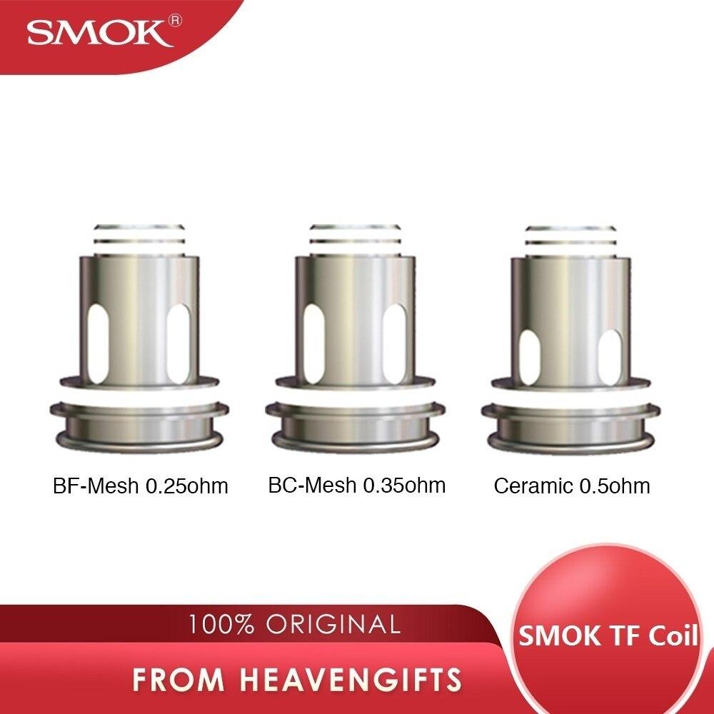 Original 3 pces/6 pces smok tf bobina com bf-malha 0.25ohm bobina & cerâmica 0.5ohm bobina para smok tf tanque e smok morph kit