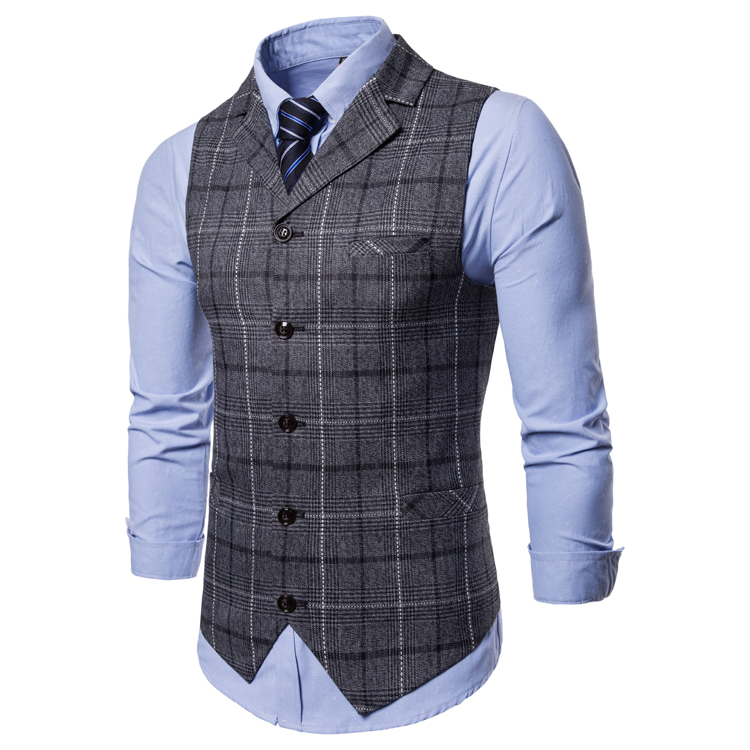Hcbdbcd042bf04328a4bc56f24ef4f16e4 - New Mens Vest Casual Business Men Suit Vests Male Lattice Waistcoat Fashion Mens Sleeveless Suit Vest Smart Casual Top Grey Blue
