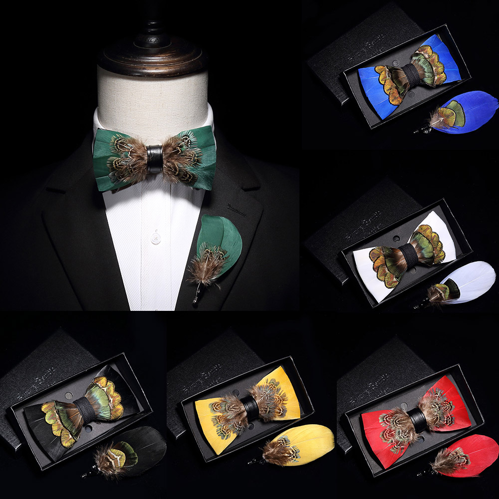 GUSLESON Original Design Mens Handmade Natural Feather Bow Tie Quality Pre-tied Bowtie For Wedding Party With Gift Box