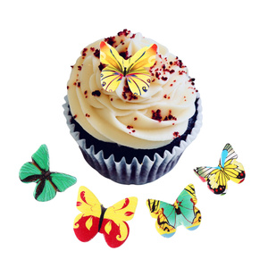 120PCS Butterfly Cake Toppers Cupcake Toppers Wafer Paper Butterflies Food Decoration Cake Decorating Supplies Random Color