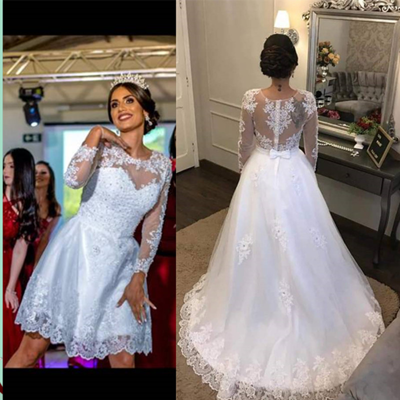 Vestido De Noiva 2020 Long Sleeves Two Pieces Wedding Dress With Flowers Bride Dress Robe De Mariee Bridal Gowns