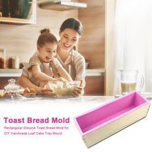 Toast Bread Mold with Wood Box Silicone DIY Handmade Loaf Cake Tray Rectangular Soap Mould for Home Kitchen Bakeware