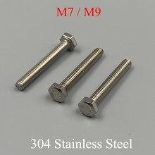 M7 m9 * 10mm 16mm 20mm 25mm 30mm 35mm 40mm 45mm 50mm 80mm comprimento 1mm passo 304 parafuso sextavado externo de aço inoxidável sextavado parafuso