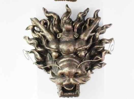 Cabides de Parede De Artesanato cabeça de Animal Dragão Dourado Criativo Moderno Restaurante Do Hotel Do Clube Spray De Água Paisagem Escultura Pingente de Casa