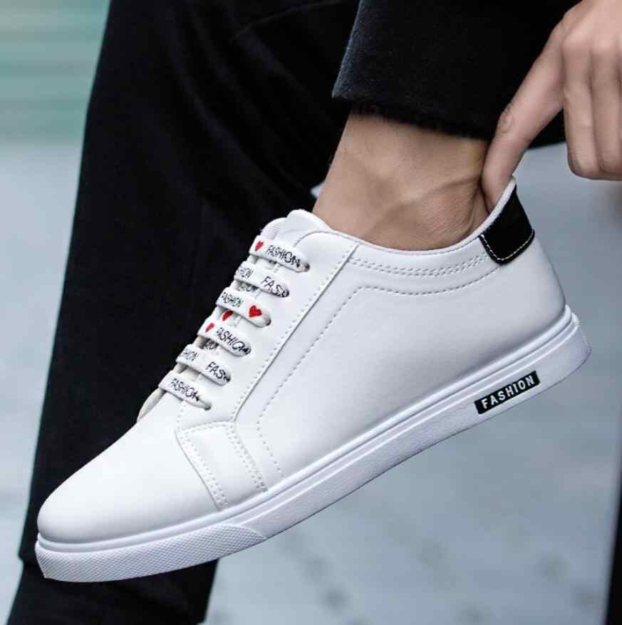Erkekler spor ayakkabılar Bahar Sonbahar erkek Deri düz ayakkabı dantel-up Düşük Üst Beyaz Erkek tıknaz Ayakkabı tenis masculino adulto Ayakkabı