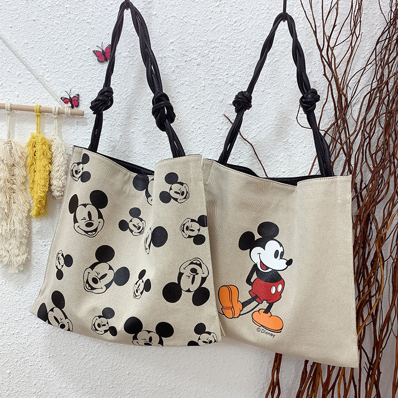 Disney's New Printed Mickey Mouse  Shoulder Canvas Bag Large Capacity Tote Bag Handbag Ladies  Bag Mickey Head Backpack