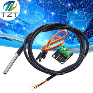 DS18B20 Temperature Sensor Module Kit Waterproof 100CM Digital Sensor Cable Stainless Steel Probe Terminal Adapter For Arduino(China)