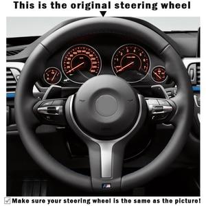 Image 3 - Black Genuine Leather Black Suede Steering Wheel Cover for BMW M4 M5 M6 F87 M2 F80 M3 F82 F12 F13 F85 X5 M F86 X6 M F33 F30