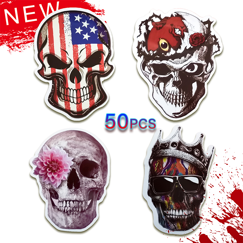 50Pcs Mixed Horror Punisher Skull Stickers For Luggage Laptop Skateboard Motorcycle Car Decals PVC Waterproof Sticker