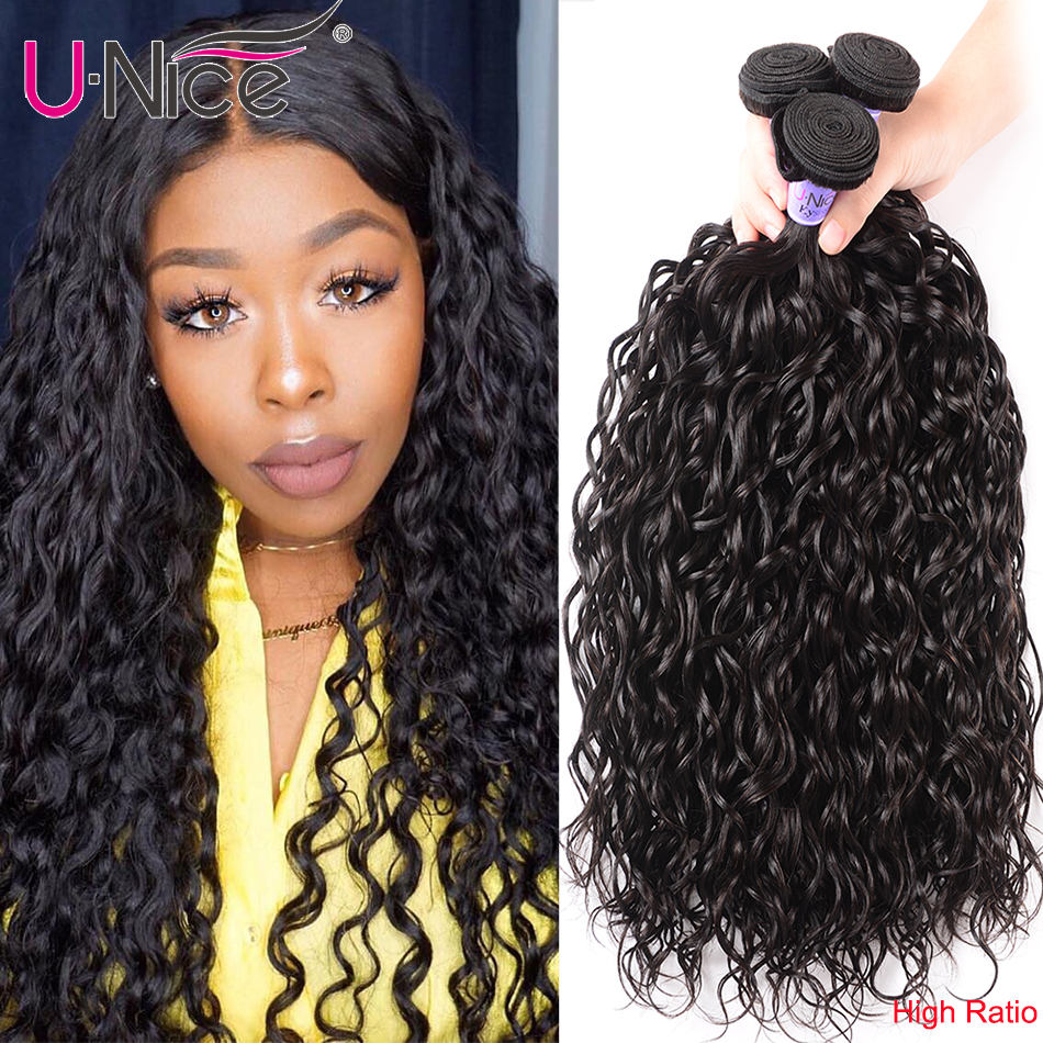 Unice Hair Kysiss Water Wave High Ratio Brazilian Hair Virgin Hair 8-26 Inch Bundles 1/3/4 Piece 100% Human Hair Weave