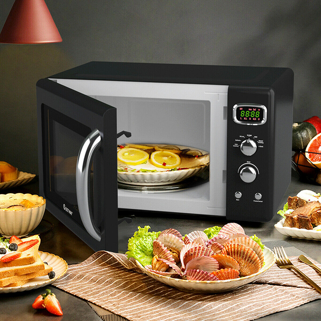 0.9 Cu.ft Microwave Oven Electric Bake Microwave Safe Kitchen Appliances with a Child Lock Function Intelligent Control 3