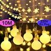 10M gwiazda śnieżynka kulki magiczne łańcuchy świetlne LED USB 220V 110V zasilanie bateryjne ślub boże narodzenie odkryty pokój girlandy Decor