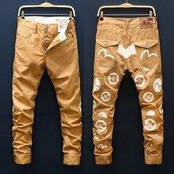 Новые полки EVISU Tide Брендовые мужские повседневные брюки Оригинальные тонкие Аутентичные мужские брюки цвета хаки с принтом