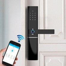 Inteligente de huellas dactilares bloqueo de la puerta de seguridad de bloqueo inteligente biométricos electrónicos Cerradura para puerta con WiFi con Bluetooth APP desbloquear