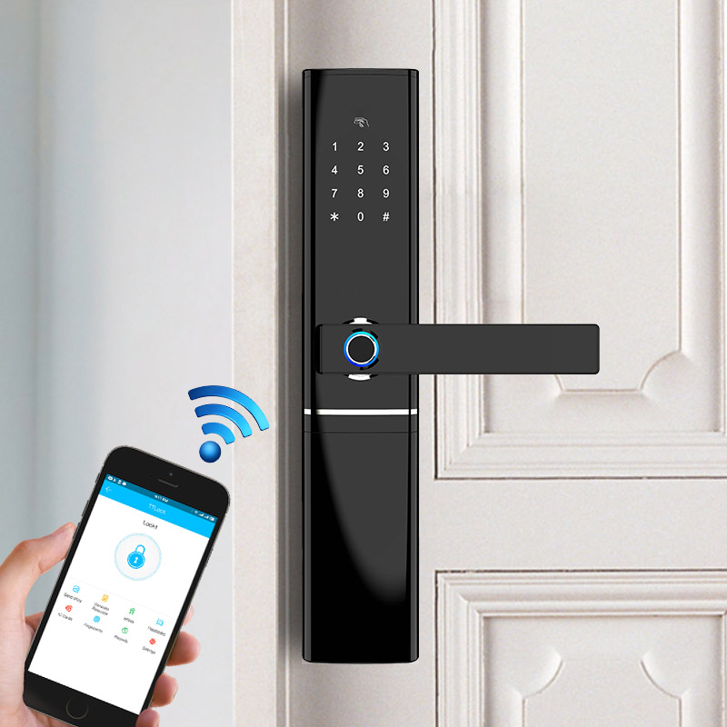 Smart Fingerprint Door Lock Security Intelligent Lock Biometric Electronic Wifi Door Lock With Bluetooth APP Unlock